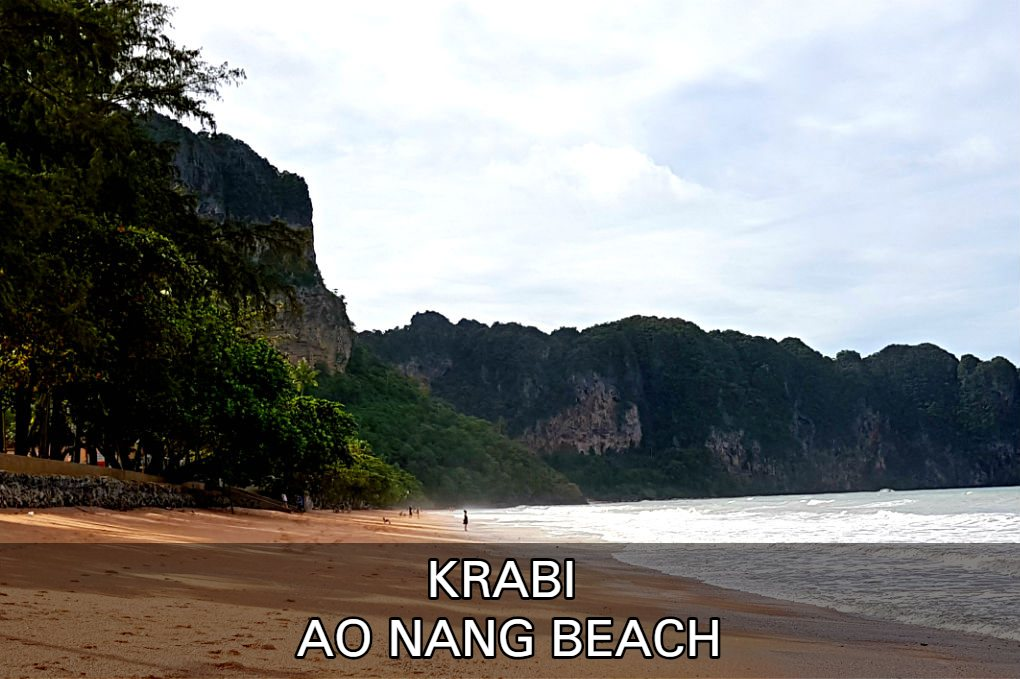 Photo of sea and rocks with link to our article about Ao Nang Beach, click here