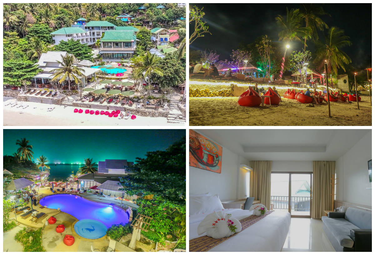 Collage van Villa Cha Cha Resort in Haad Salad, op het eiland Koh Phangan in Thailand