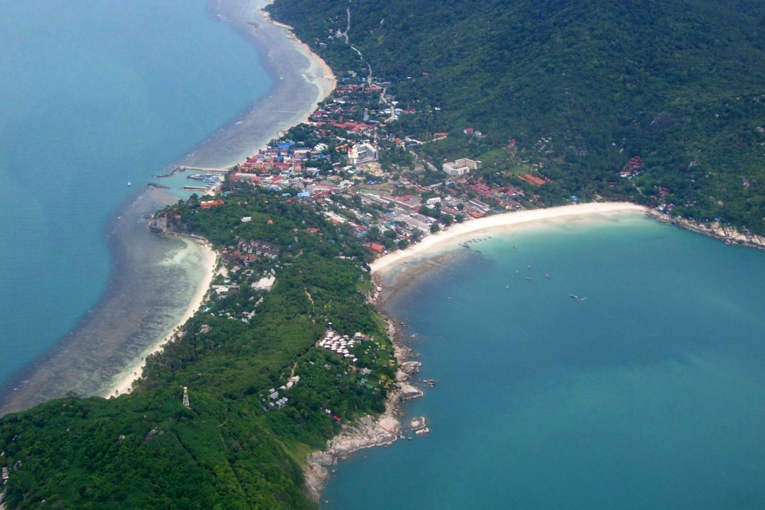 Aerial view of Haad Rin in Koh Phangan