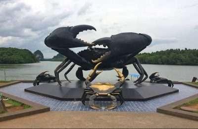 Groot Beeld Van Een Krab Met Goudkleurige Accenten Langs De Rivier