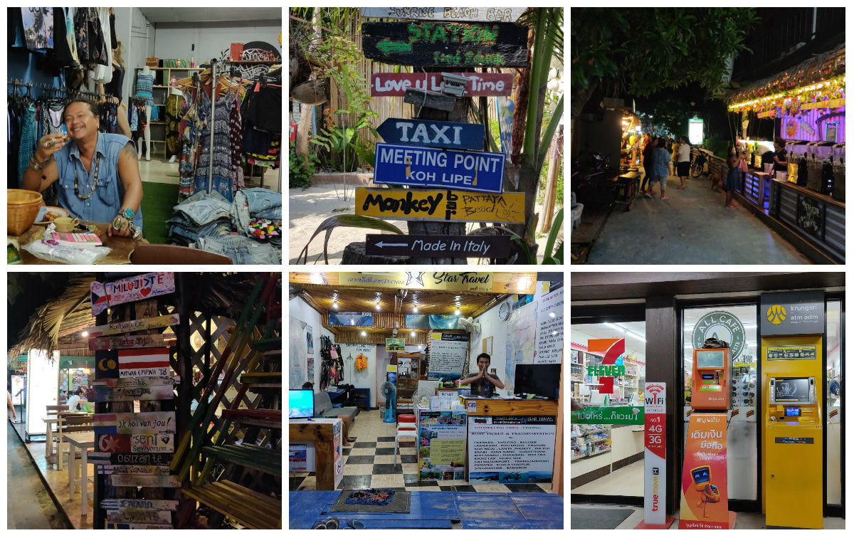 Collage van foto's over Walking Street Koh Lipe in Thailand