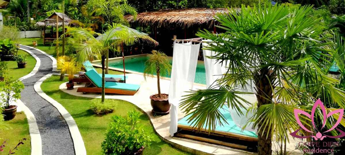 Beautiful garden with pool of Carpe Diem Residence near Thong Sala on Koh Phangan