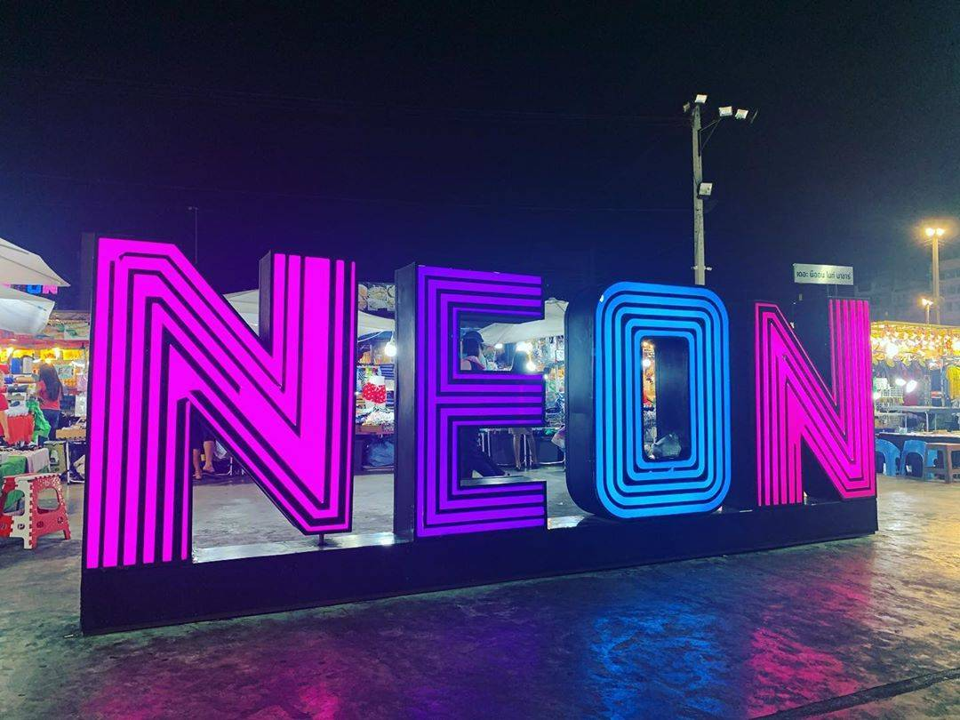 The big neon letters of Neon Night Market / Talad Neon in Bangkok