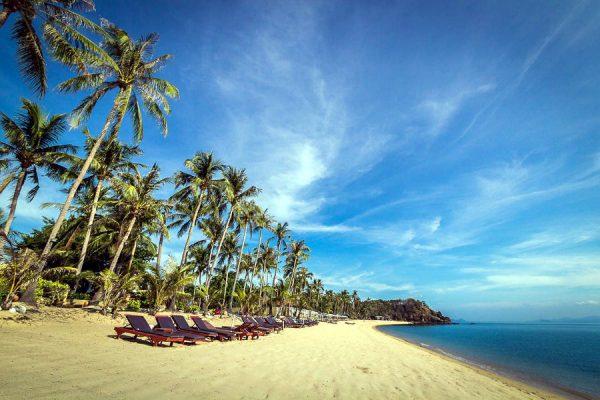 palmbomen en ligbedjes op het goudgele strand van Coco Palm Beach, Maenam Beach.