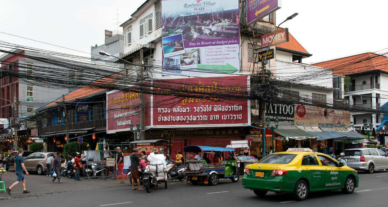 The crossroad between Rambuttri Alley and Soi Rambuttri in Bangkok