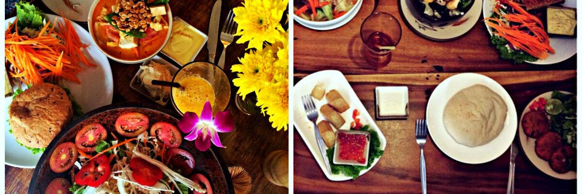 Kleurijke vegatarische gerechten op tafel bijEthos Vegaterian Restaurant, Khao San Road, Bangkok