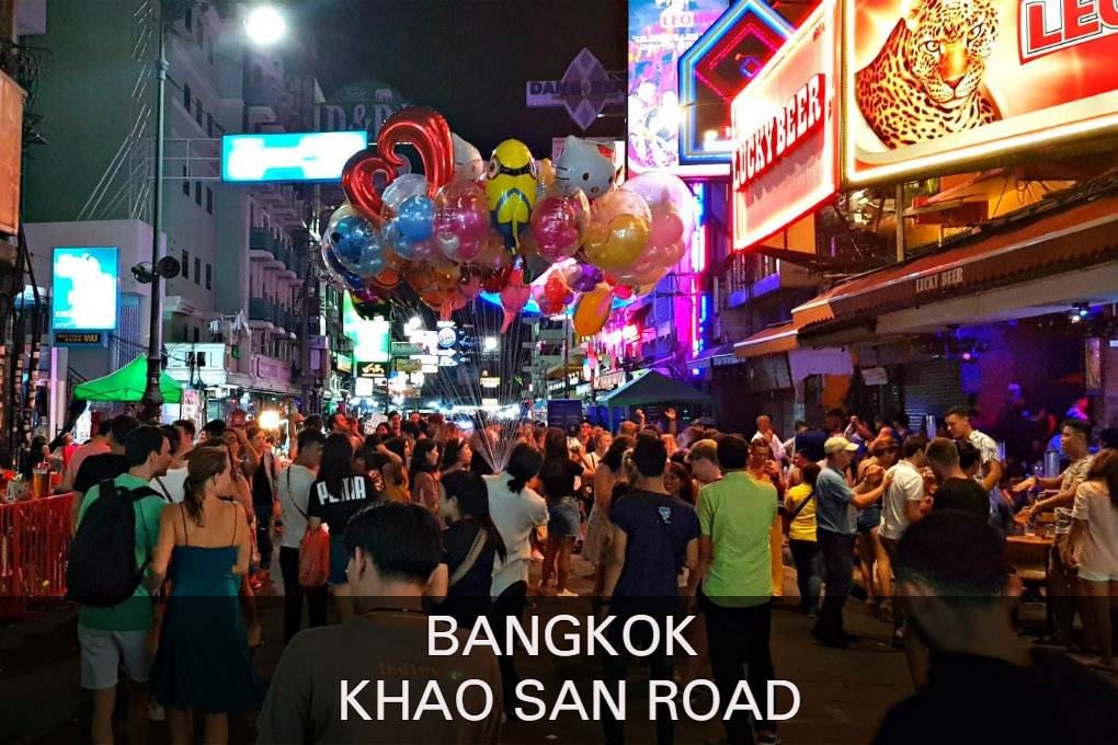 Photo of people partying with link to Khao San Road,l euke neighborhood in Bangkok