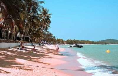 Maenam Beach, Een Paar Mensen Liggen Op Het Goudgele Langgerekte Strand Omzoomd Met Palmbomen.