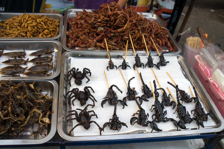 Schorpionnen op een stokje en meer enge beestjes om te eten op Khao San Road