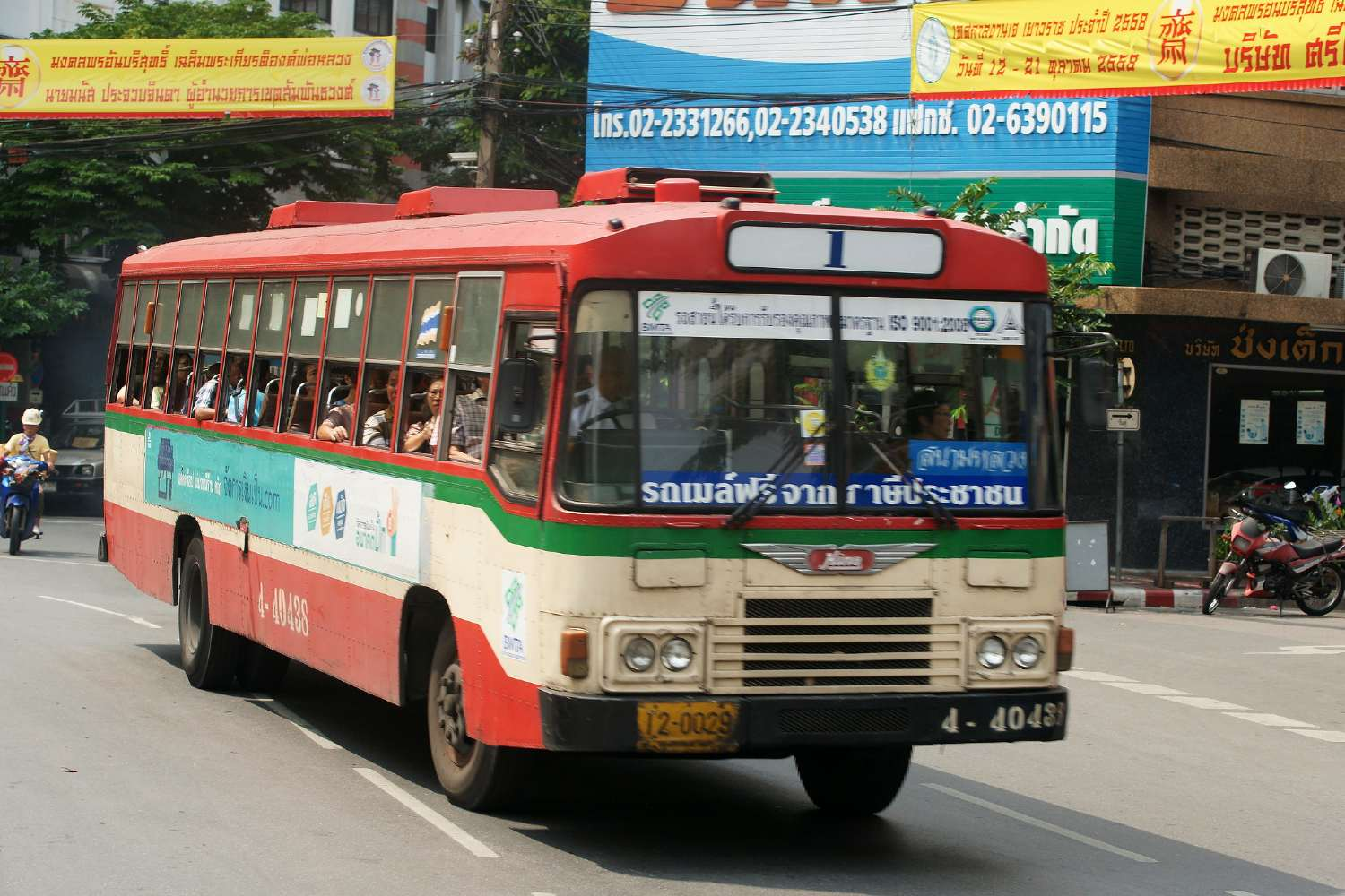 A red bus in Bangkok, Thailand