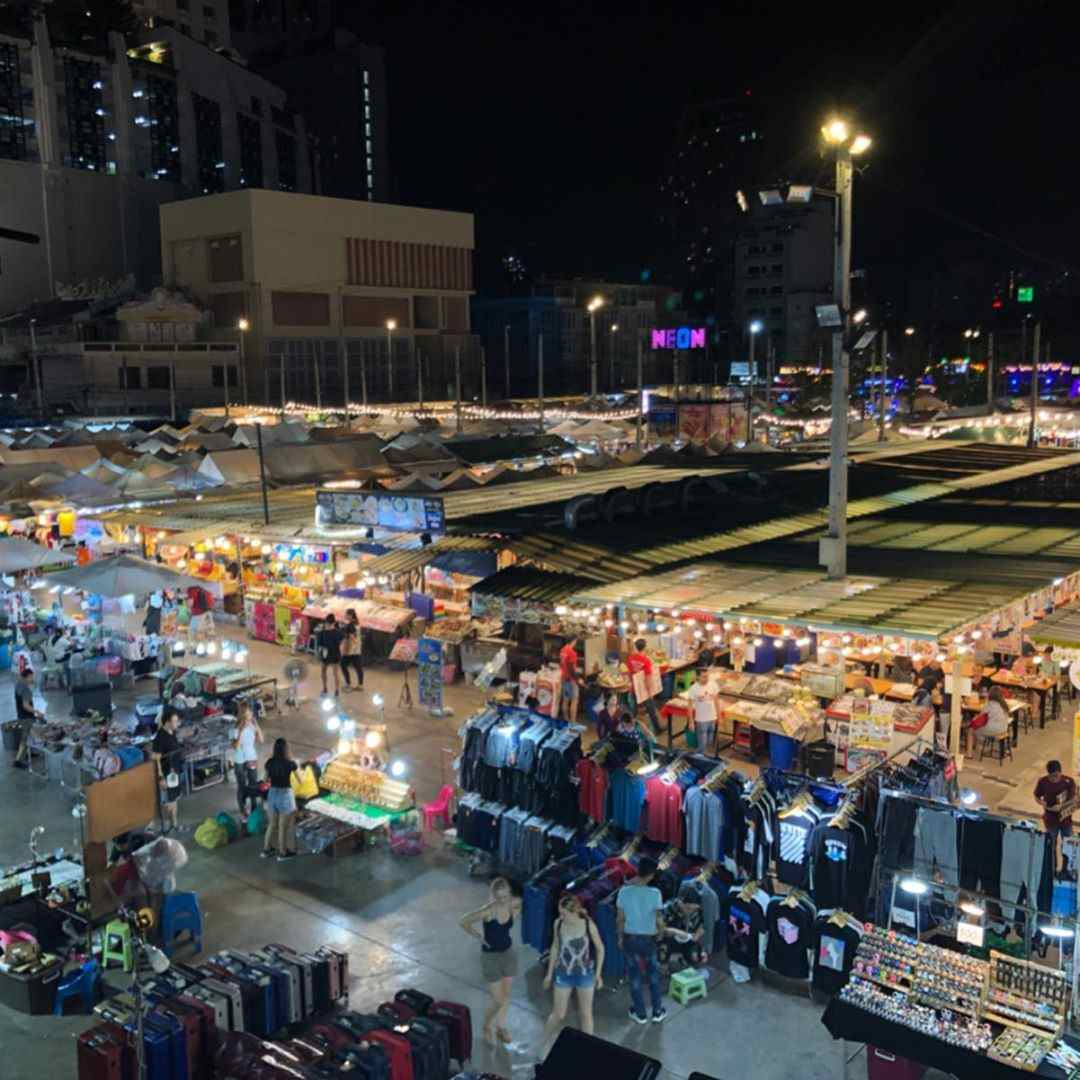 Neon Night Market / Talad Neon in Bangkok from above
