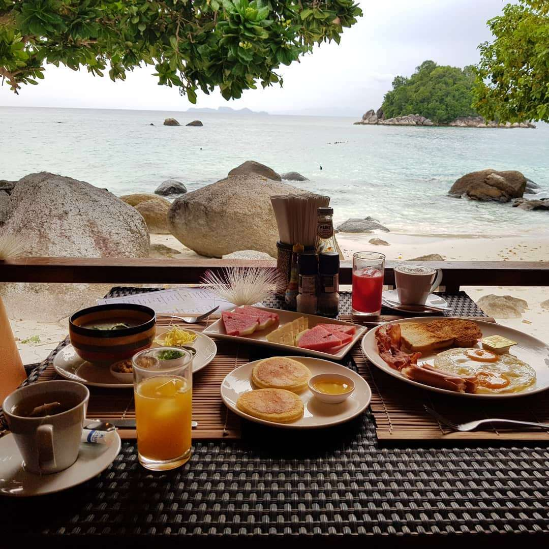 Breakfast on the beach at Ten Moons Restaurant (one of the Best restaurants on Koh Lipe)