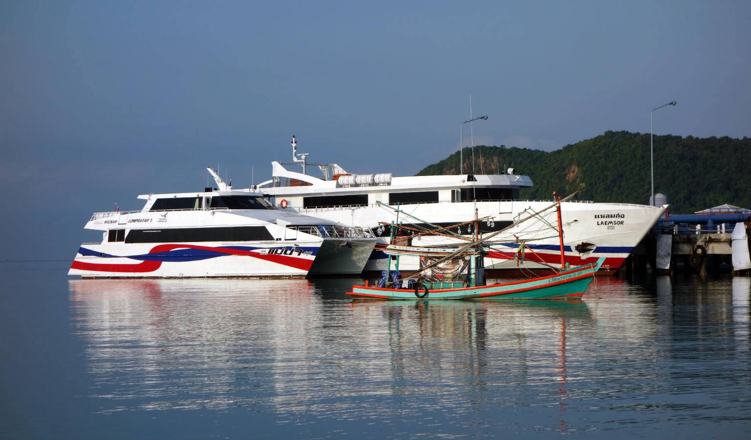 Ferries docked at Thong Sala pier on Koh Phangan, Thailand