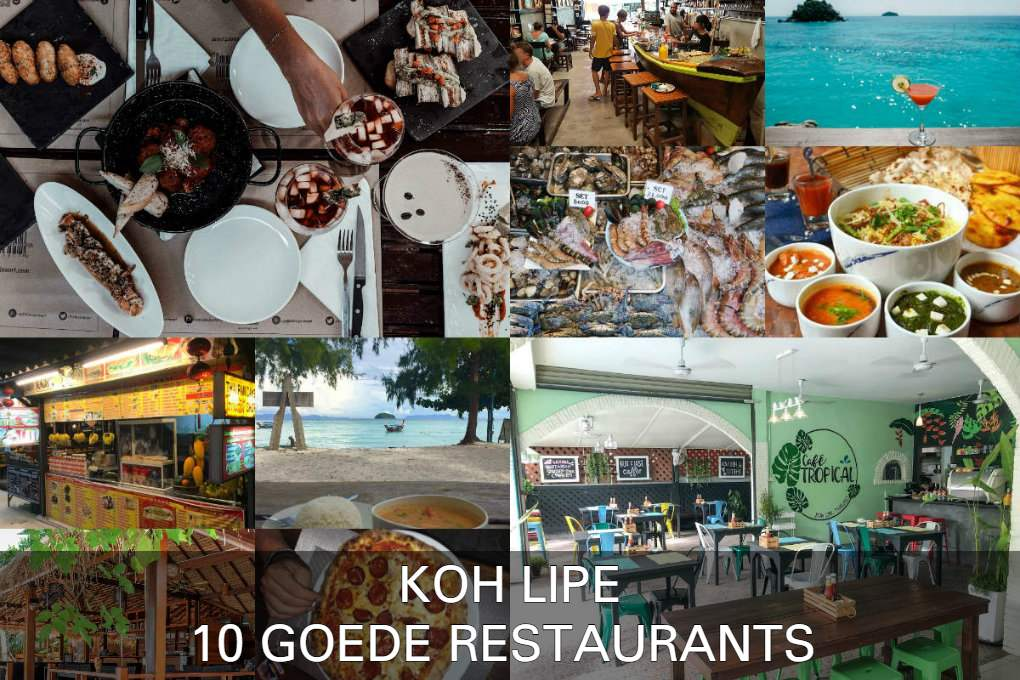 Collage met 10 goede restaurants in Koh Lipe