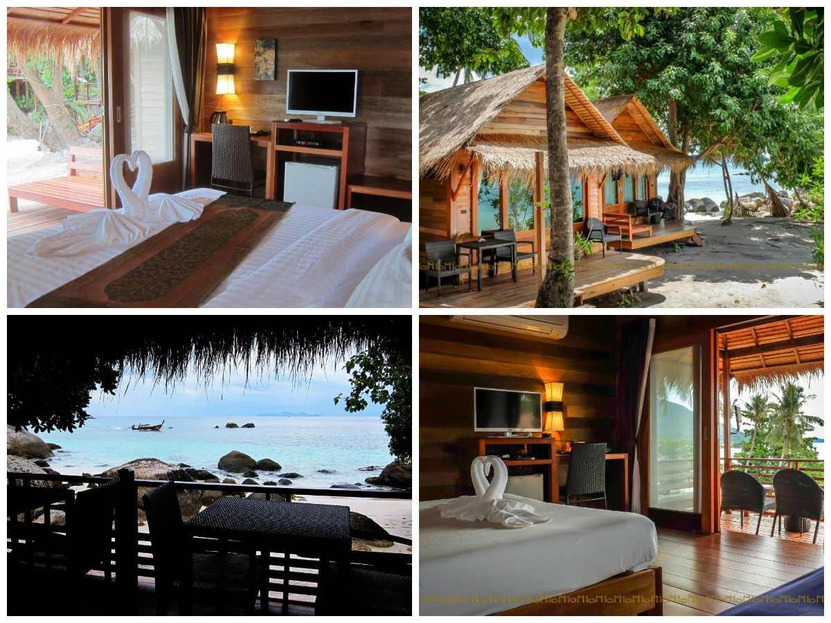 Collage van Ten Moons Resort met daarop de tweepersoonskamer, bungalows op het strand en het uitzicht vanaf het restaurant op de mooie zee
