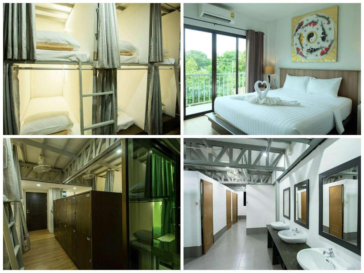 A plus Lipe collage met een kamer vol met stapelbedden, een tweepersoonskamer, de lockers en de doucheruimte
