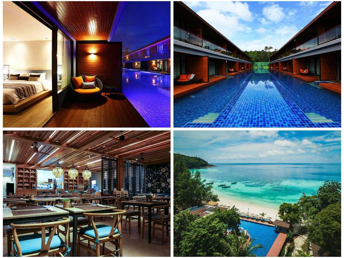 Collage van Akira Hotel met daarop het zwembad, een luchtfoto van het hotel, het restaurant en de pool access kamer