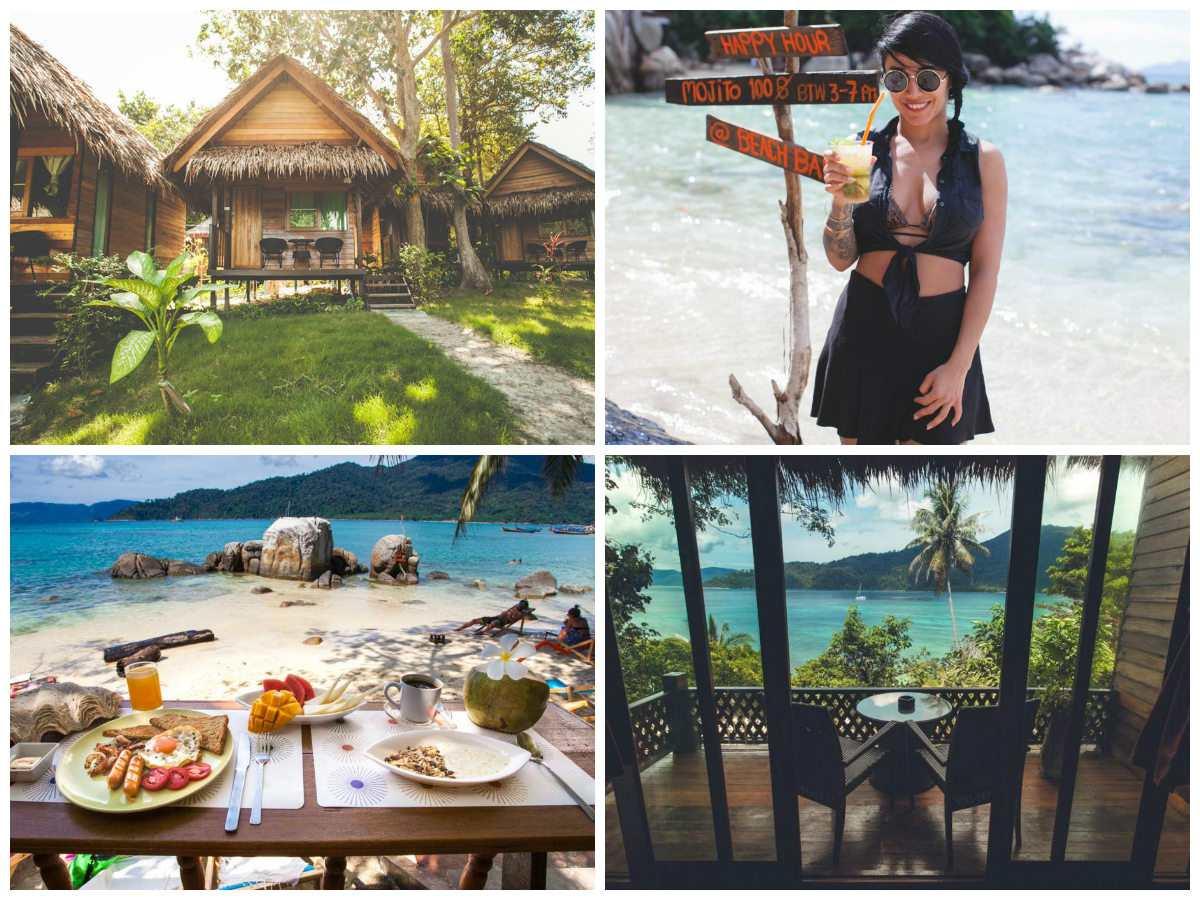 Collage van Baywview Sunset Resort met daarop een bungalow, meisje die een cocktail drinkt, een ontbijtje met uitzicht over Sunrise Beach en een balkon met uitzicht op zee