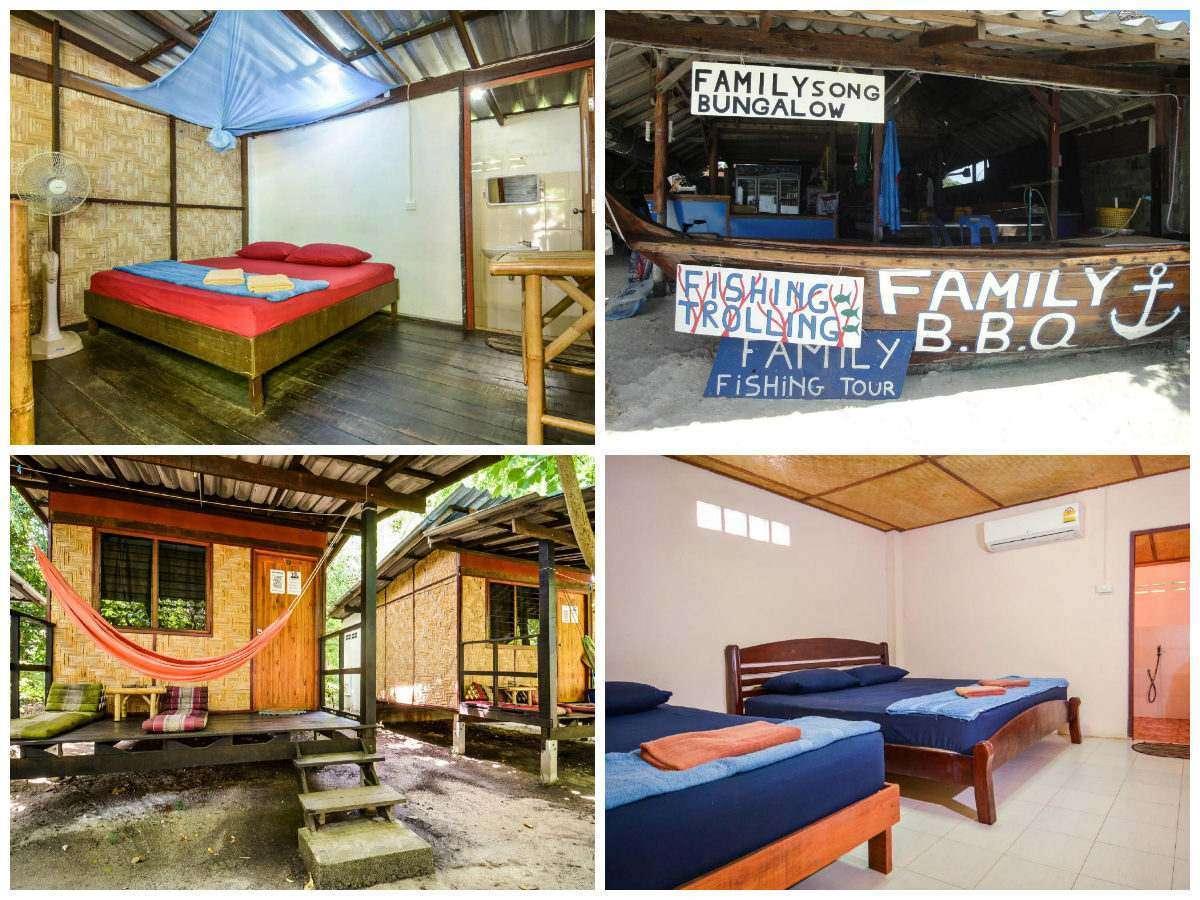 Collage van Family Song KohLipe met daarop een basic kamer met bed, boot als bar, een tweepersoonskamer met losse bedden en een terrasje met hangmat