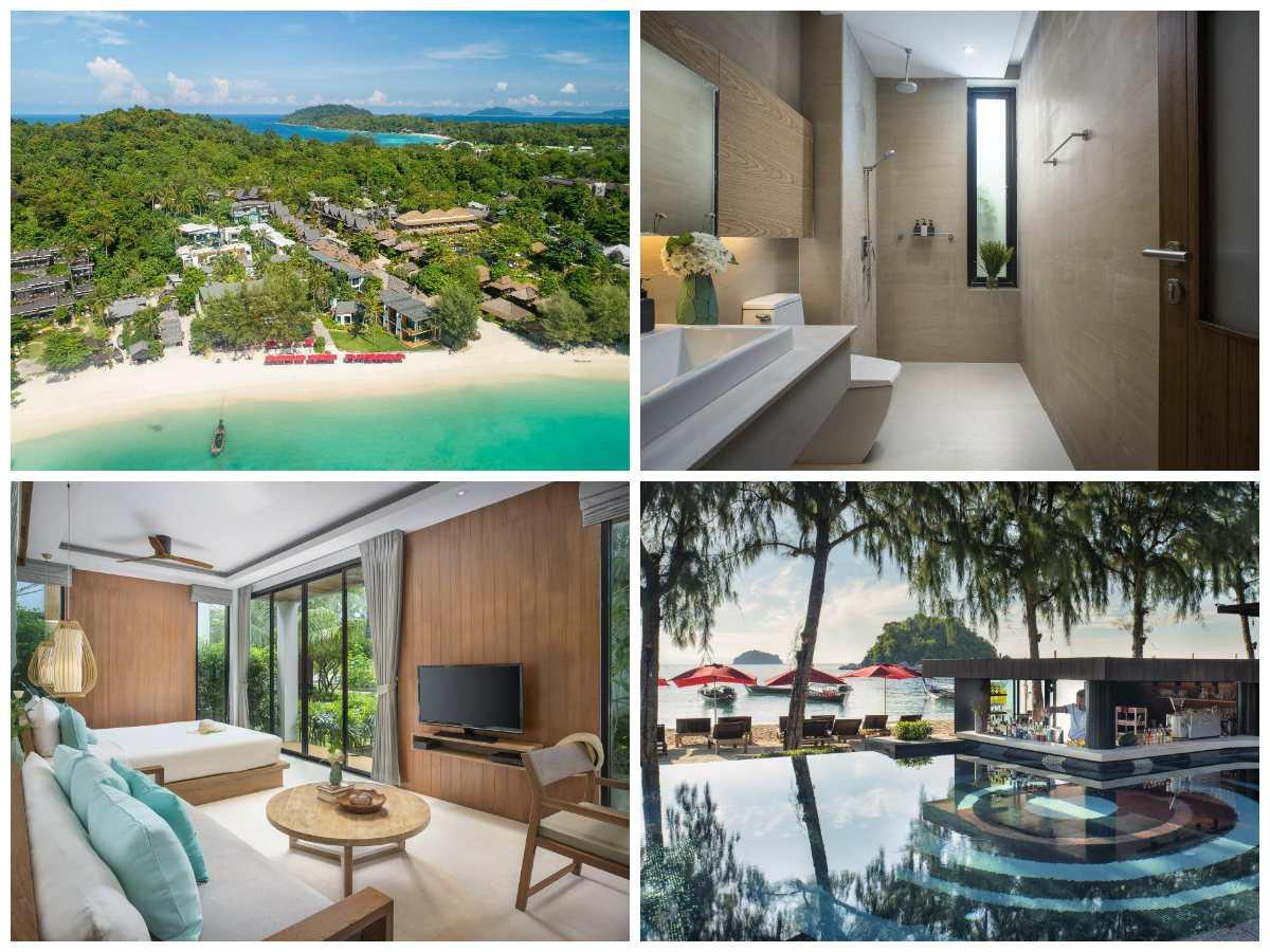 Collage van het Idyllic Concept Resort met daarop de luxe kamer en badkamer, het prachtige zwembad en een foto vanaf de lucht genomen met een drone