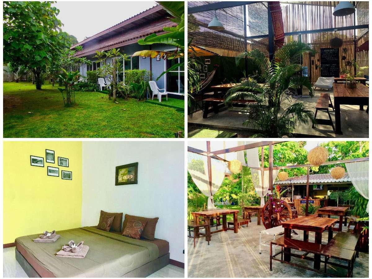 Collage van Oasis Lipe Resort met daarop de tuin, het restaurant en een tweepersoonskamer