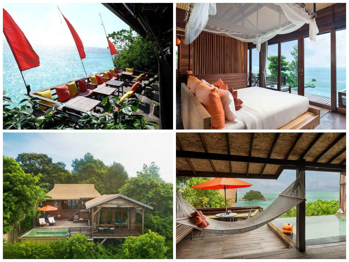Collage van Serendipity Resort met daarop het terras hangend boven de zee van Sunrise Beach, de pool villa met hangmat en zwembad en de slaapkamer van de poolvilla
