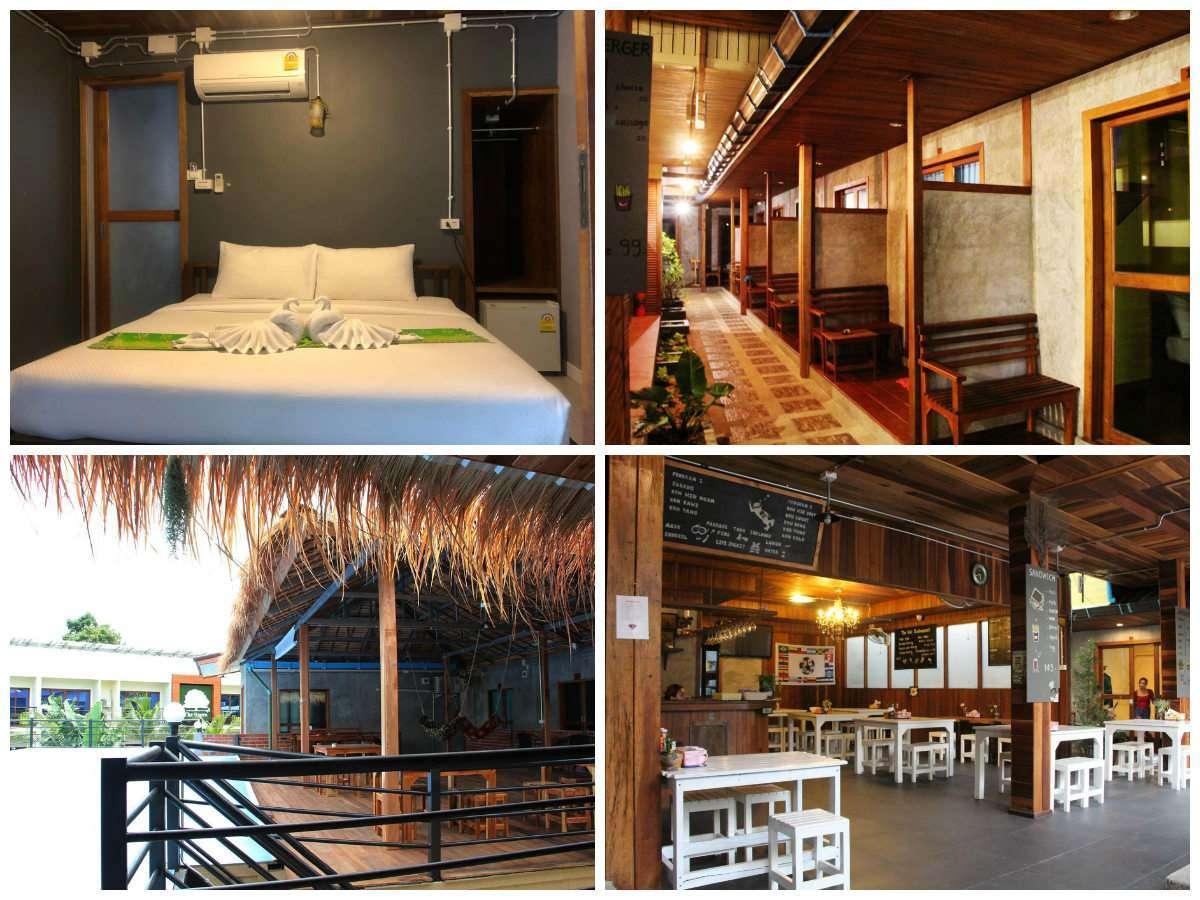 Collage van The Noi Guesthouse met daarop de tweepersoonskamer, de chill ruimte, de gang en het restaurant