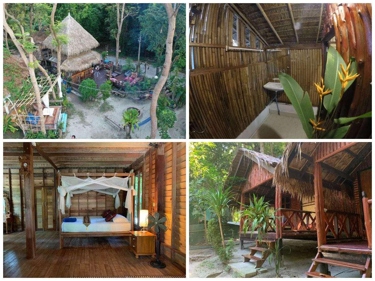 Collage van Time to Chill House in Koh Lipe met daarop een luchtfoto van het terrein, een bungalow van buiten, een tweepersoonsbungalow van binnen en de badkamer van de tweepersoonsbungalow