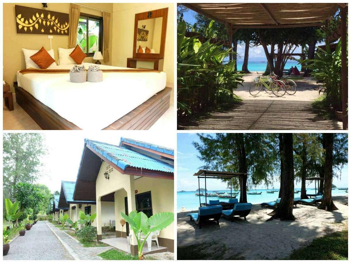 Collage van Wapi Resort met daarop een tweepersoonskamer, de bungalows, het strand van Sunset Beach en de fietsen die je hier kunt lenen