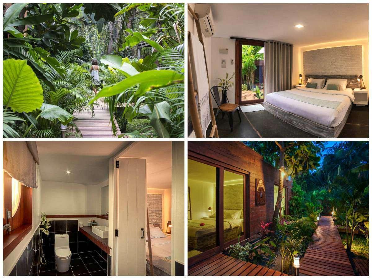 Collage van The Box op Koh Lipe met daarop het wandelpad door de tuin, een tweepersoonskamer, de badkamer van de tweepersoonskamer en een kamer van buitenaf gezien