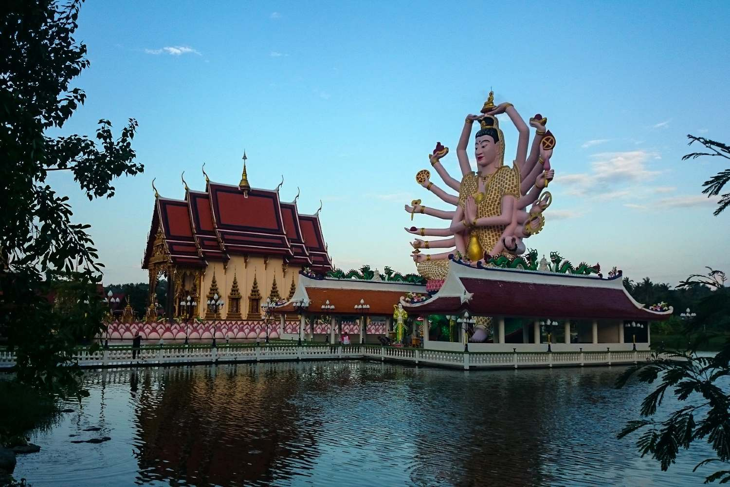 colorful 16 handy Buddha of the Wat Plai Leam Temple on Koh Samui in Thailand