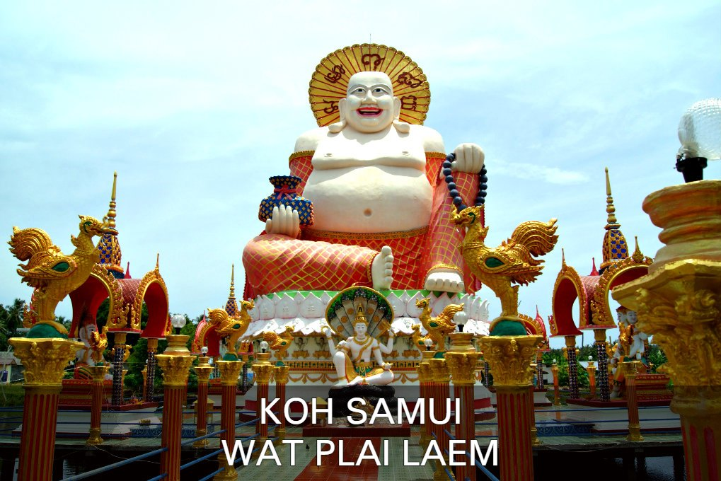 Photo Laughing Buddha, click here for all information about Wat Plai Laem Temple on the island of Koh Samui in Thailand.