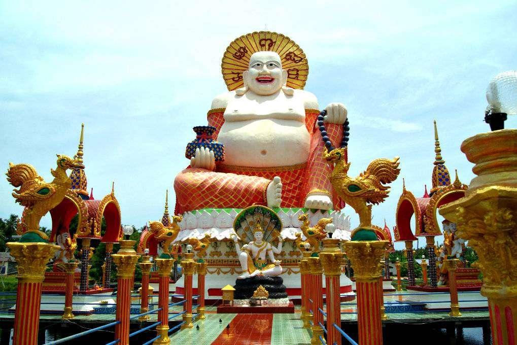 Wat Plai Laem Temple, big fat smiling Buddha on Koh Samui in Thailand