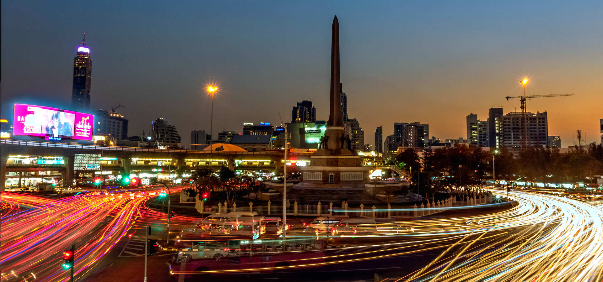 Victory Monument surrounded by traffic in Bangkok