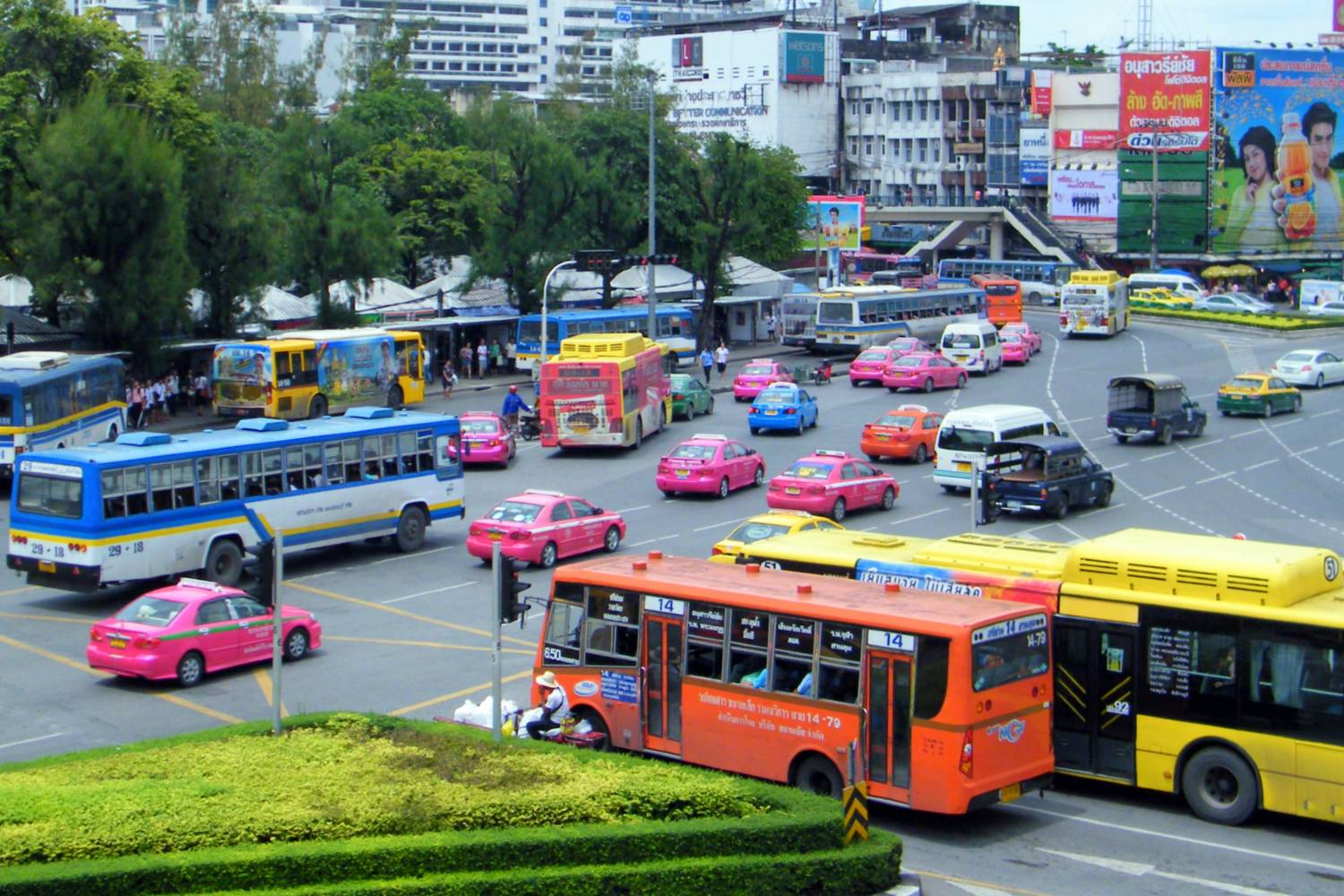 Buses and taxis around Victory Monument, Bangkok in Thailand