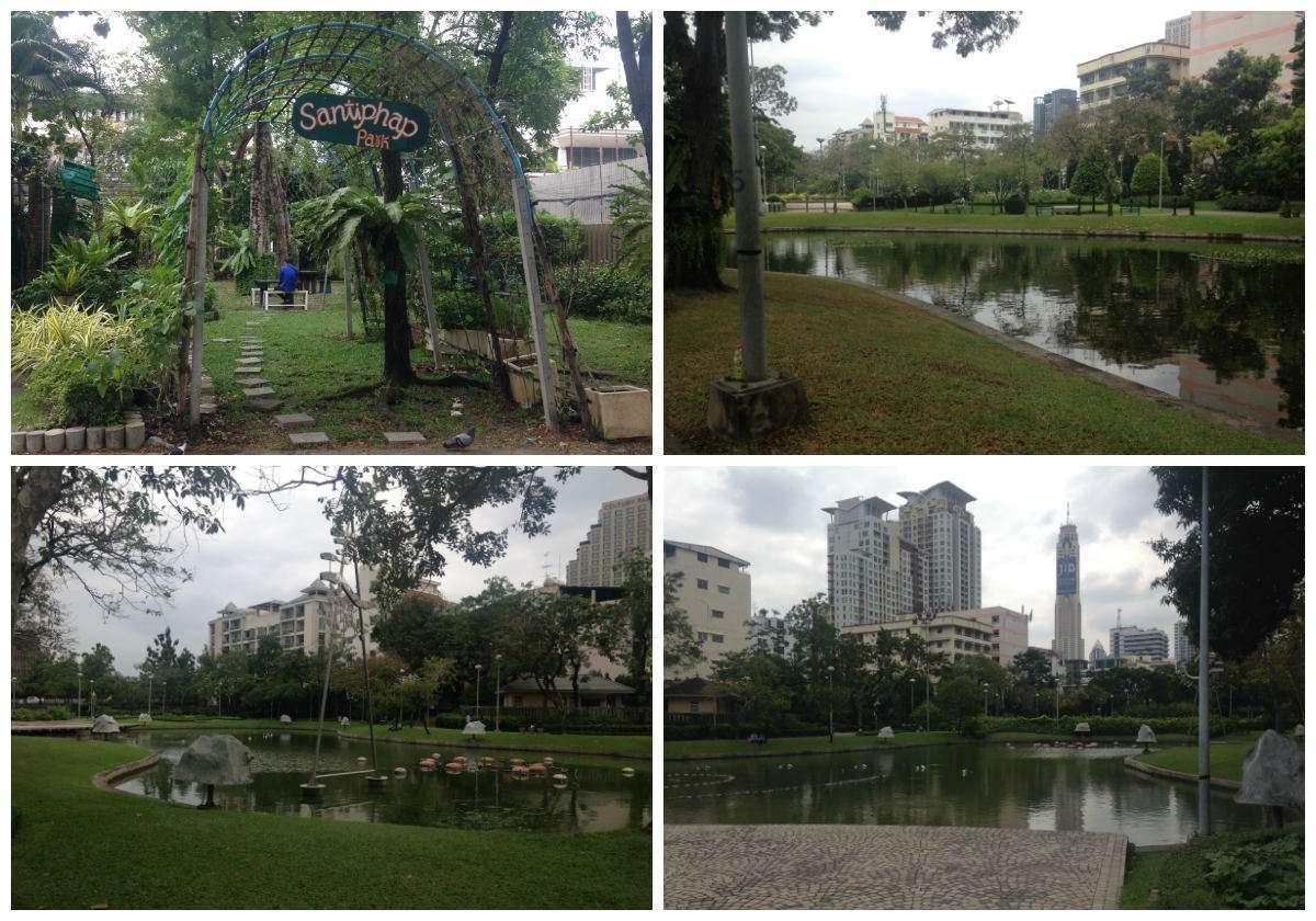 Collage van de inrichting van het Santiphap Park in Bangkok, Thailand