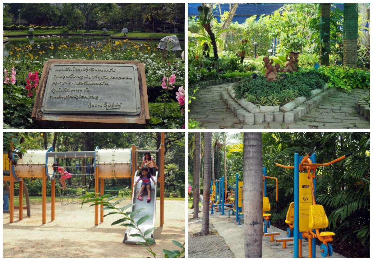 Collage van de dingen die je kunt doen en lezen in het Santiphap Park in Bangkok, Thailand