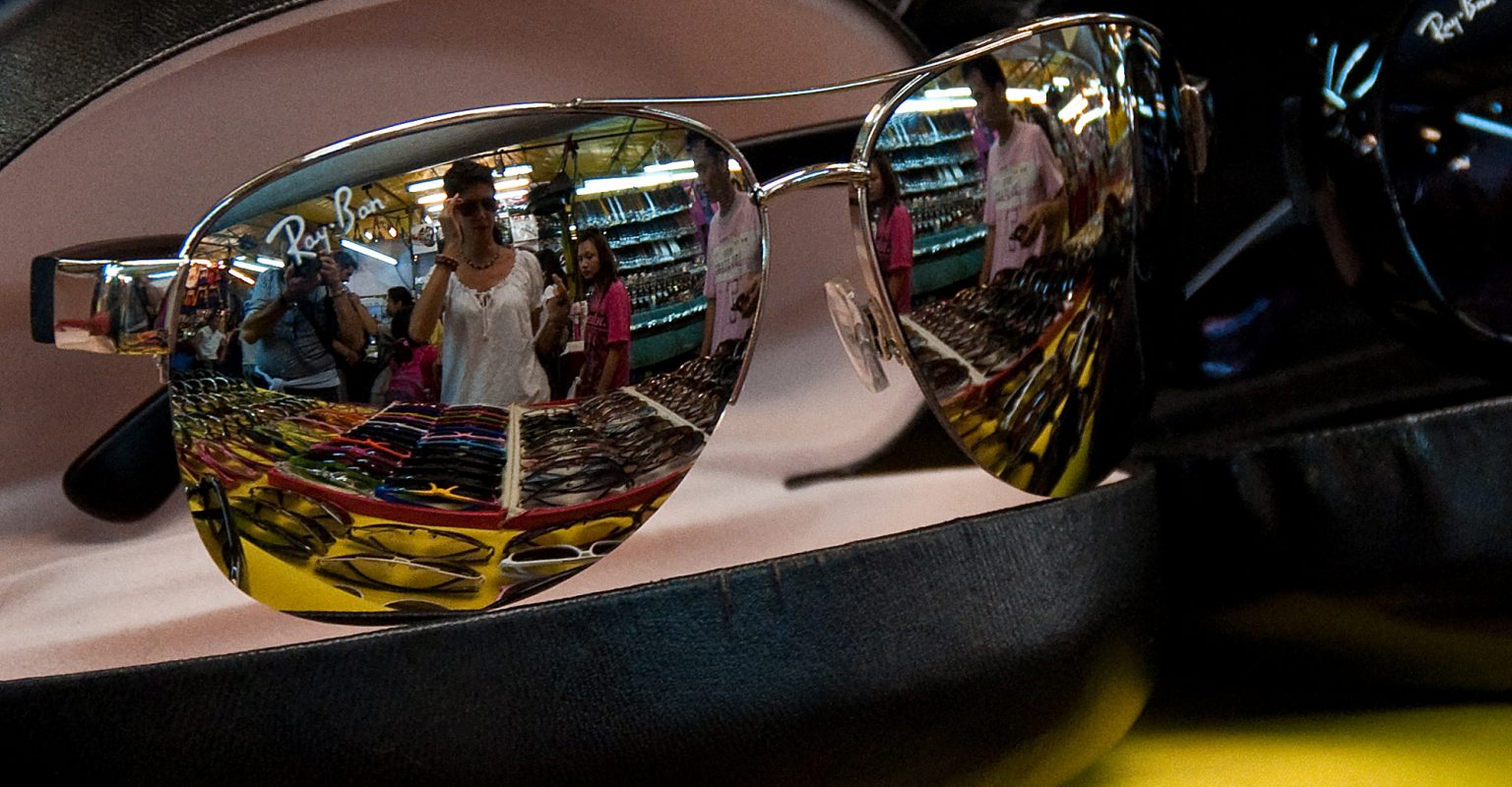Ray-Ban sunglasses for sale at the Patpong Night Market in Bangkok