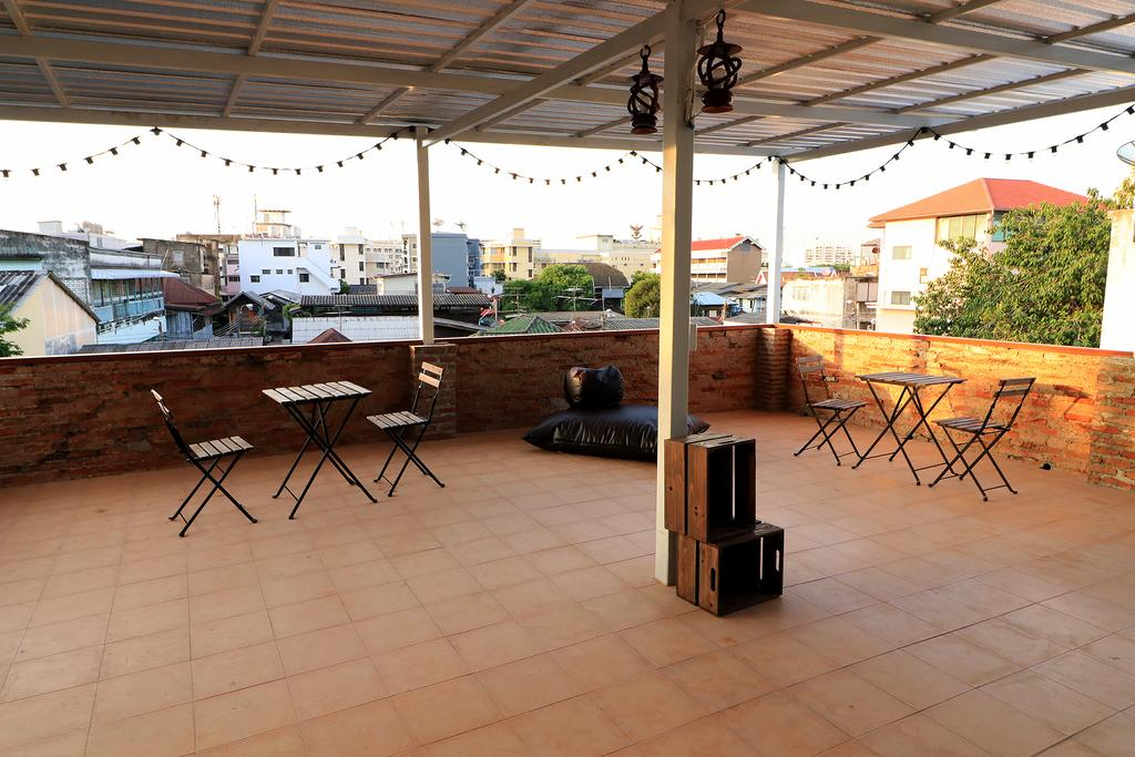 The roof terrace of the Krit Hostel near Khao San Road in Bangkok.