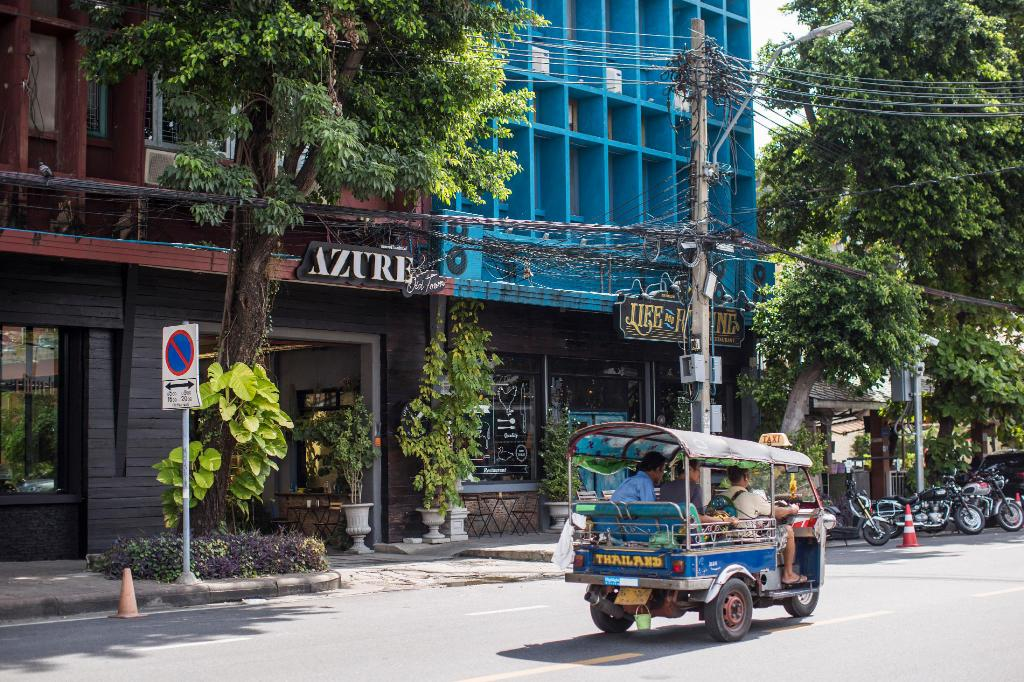 Azure Hostel seen from the street near Khao San Road