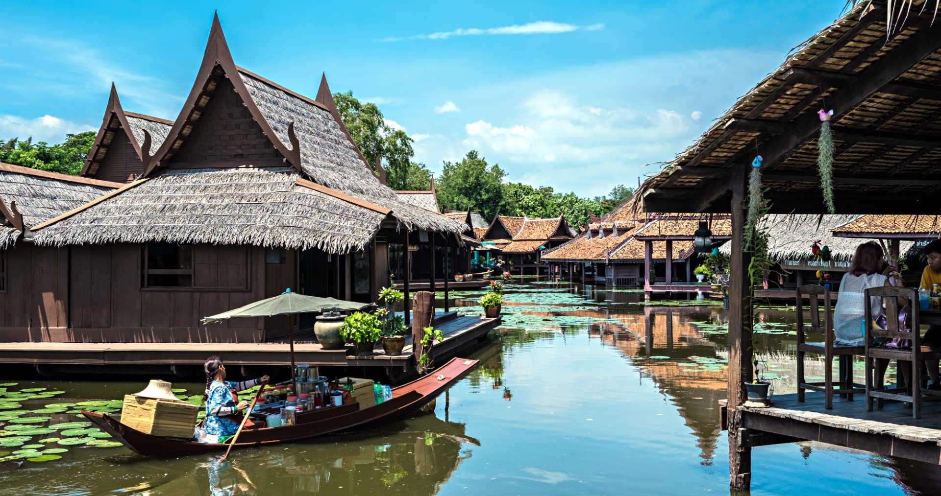 Klongs with restaurants at open air museum Ancient City, Muang Boran, Bangkok,