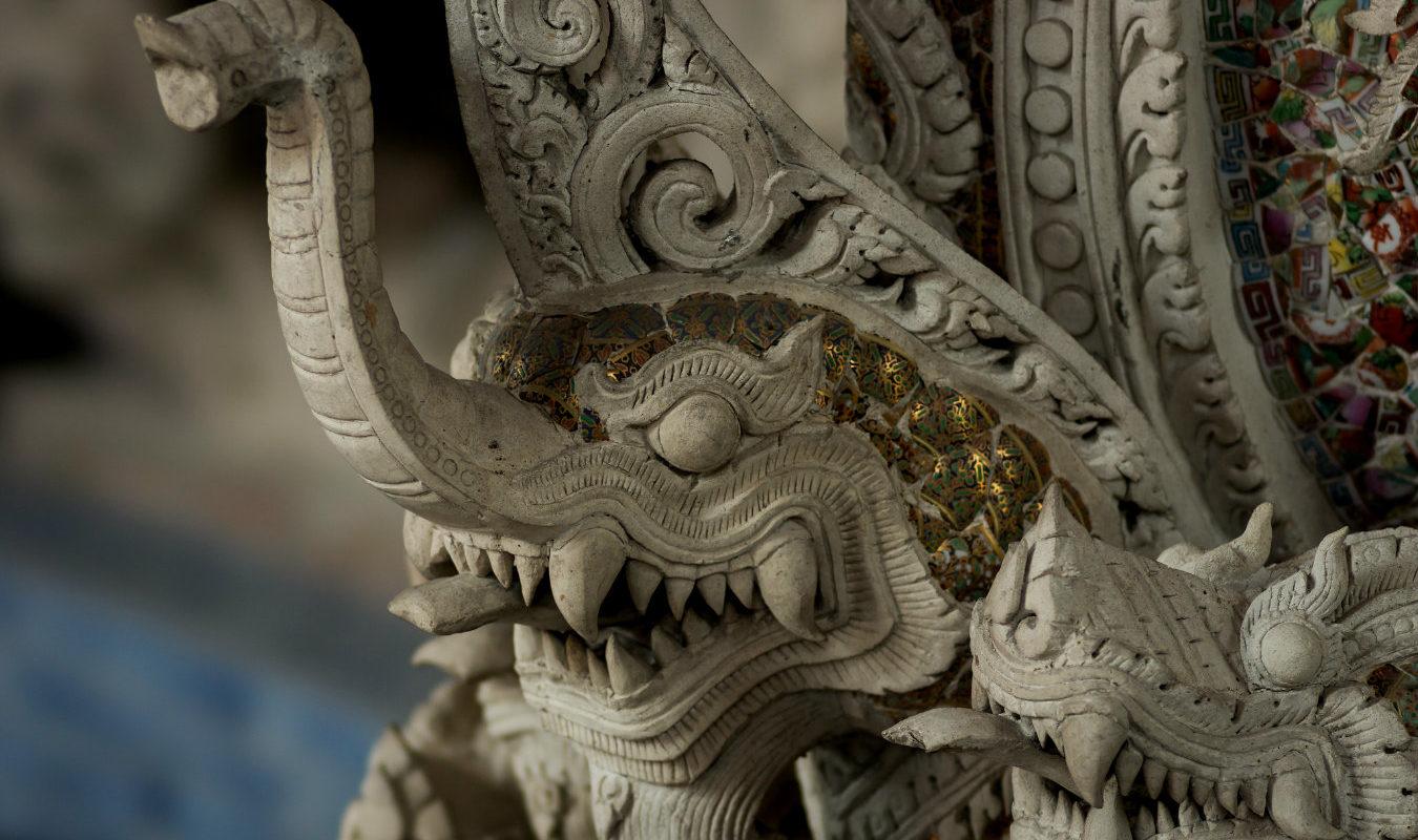 Gedetailleerd klein olifant sculptuur in het Erawan Museum, Bangkok