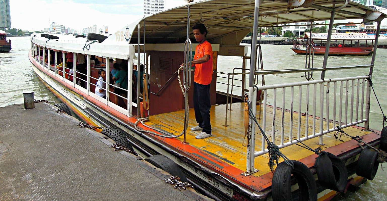 Boat moored at the Chao Phraya River Bangkok, Thailand