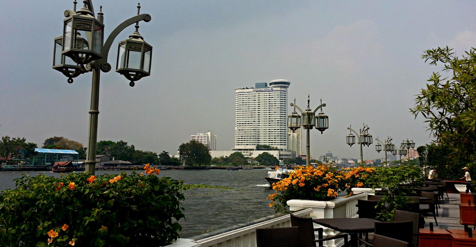 Terrace of the Mandarin Hotel along the river of Bangkok, Thailand