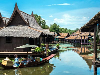 Ancient City, Muang Boran, Open Air Museum With A Replica Floating Market In Bangkok, Thailand.