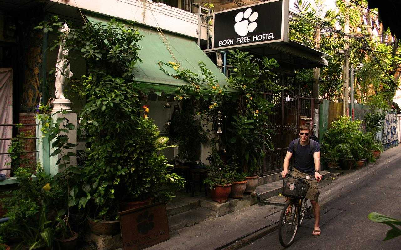 The Born Free Hostel seen from the outside near Khao San Road in Bangkok.