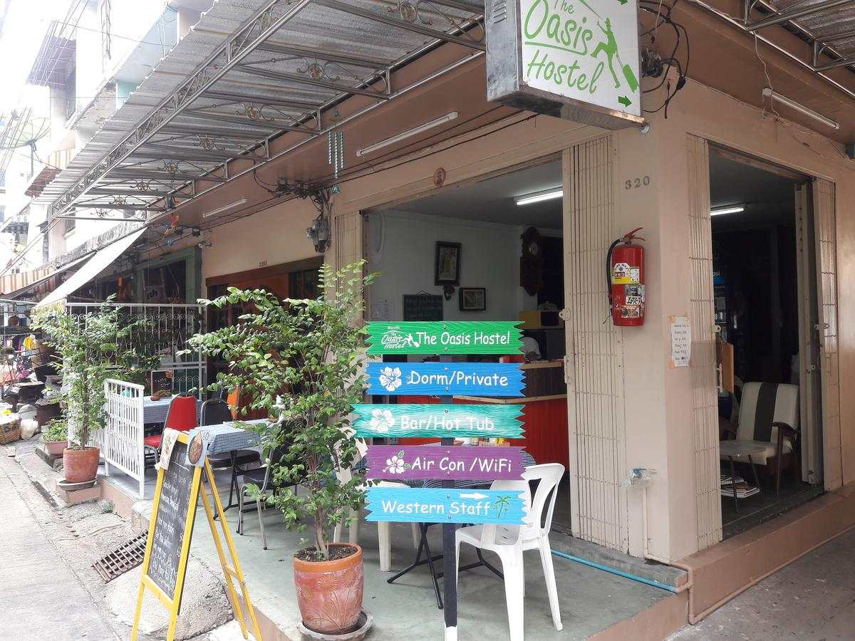 The Oasis Hostel seen from the outside near Khao San Road