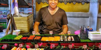 Sushi Stalletje Op De Pai Night Market In Pai Walking Street