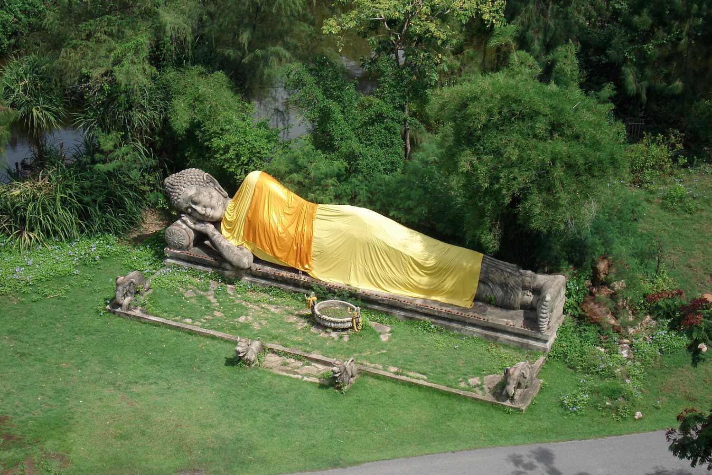 Lying Buddha at Ancient City, Muang Boran in Thailand