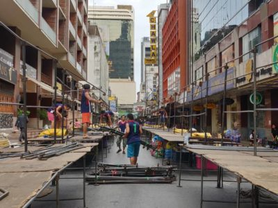 Building Up The Patpong Night Market In Bangkok, Thailand